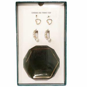 Steve Madden Earrings & Trinket Tray Gift Set